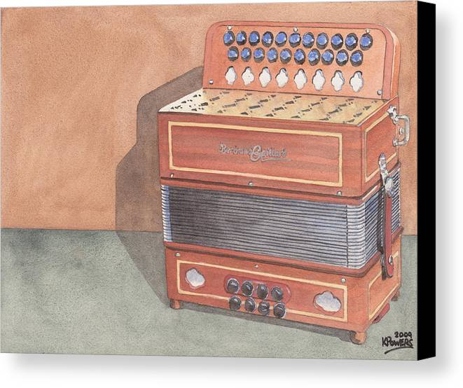 Button Canvas Print featuring the painting Button Accordion Three by Ken Powers
