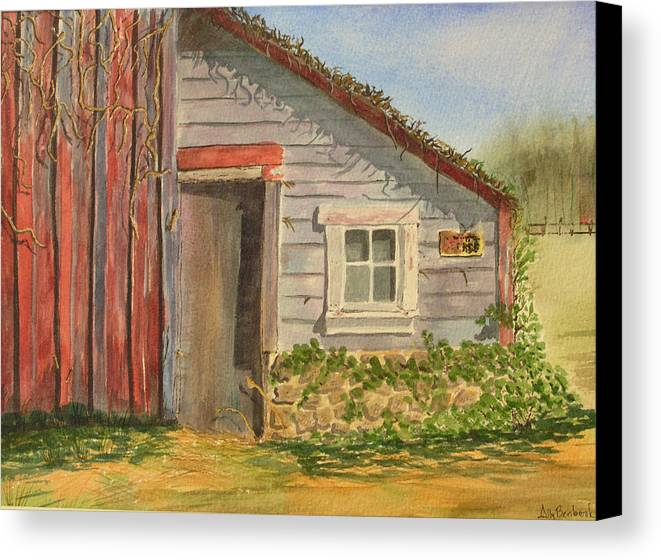 Cabin Canvas Print featuring the painting Cabin Fever by Ally Benbrook
