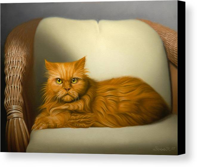 Cats Canvas Print featuring the painting Cat Portrait Of Tosca by Eric Bossik