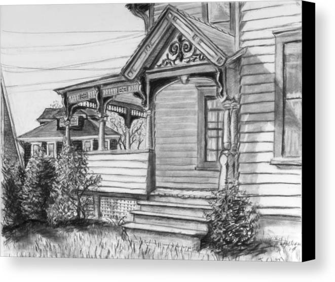 House Canvas Print featuring the drawing Chenango Street Binghamton Ny by John Clum