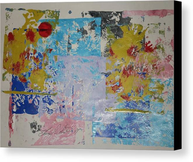 Abstract Canvas Print featuring the painting Cherry Trees In My Front Yard by Edward Wolverton