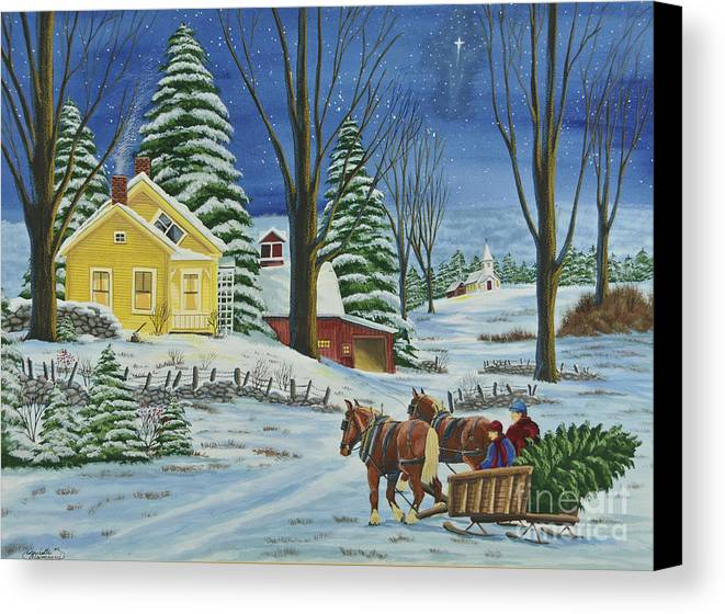 Winter Scene Paintings Canvas Print featuring the painting Christmas Eve In The Country by Charlotte Blanchard