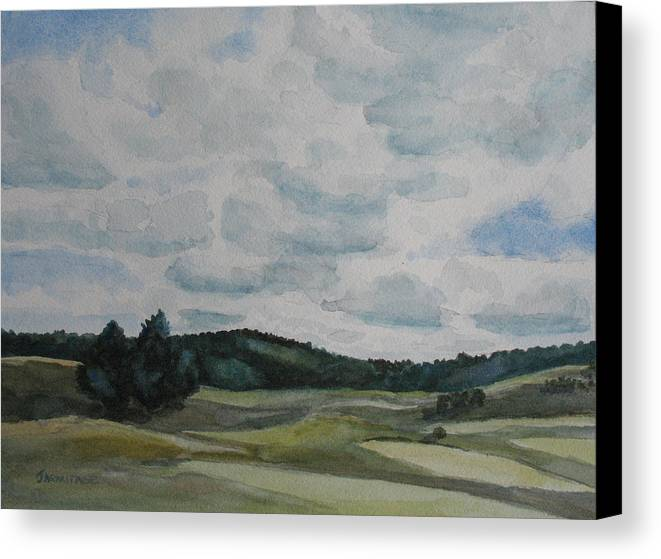 Mountains Canvas Print featuring the painting Clouds Over Boot Hill by Jenny Armitage