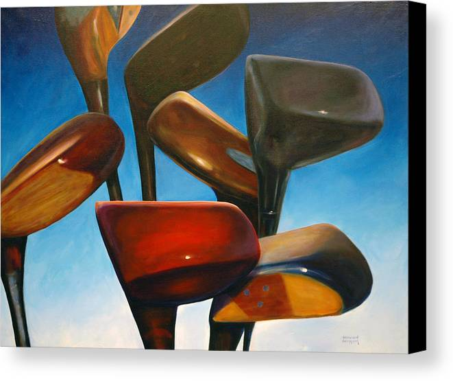 Golf Clubs Brown Canvas Print featuring the painting Clubs Rising by Shannon Grissom