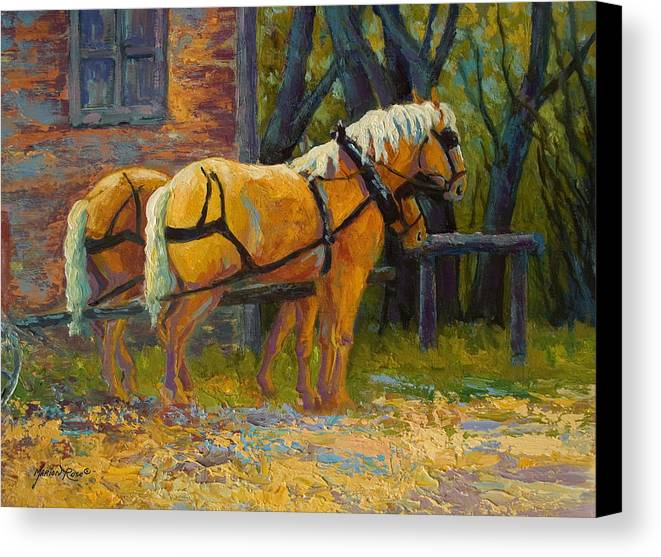 Horses Canvas Print featuring the painting Coffee Break - Draft Horse Team by Marion Rose