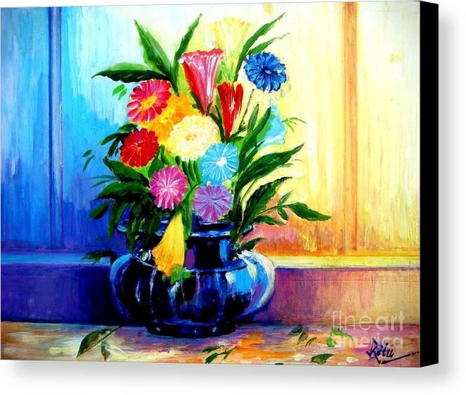 Colourful Flower Vase Canvas Print Canvas Art By Ritu Surana