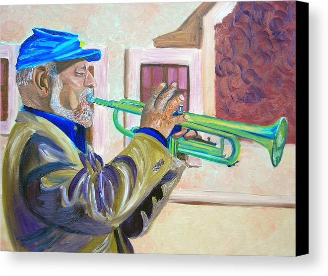 Street Musician Canvas Print featuring the painting Confederate Bugular by Michael Lee