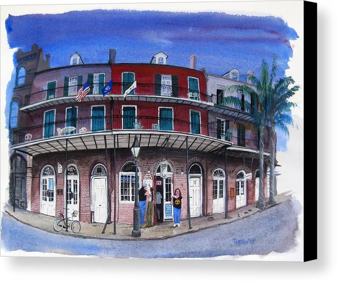 Street Scene Canvas Print featuring the painting Coop's Place by Tom Hefko