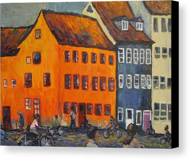 Copenhagen Canvas Print featuring the painting Copenhagen by Art Nomad Sandra Hansen