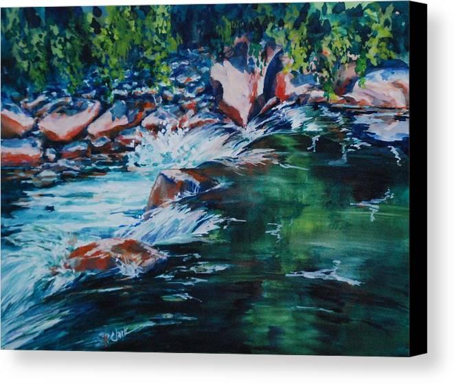 Watercolorcanvas Canvas Print featuring the painting Covington Falls by Donna Pierce-Clark