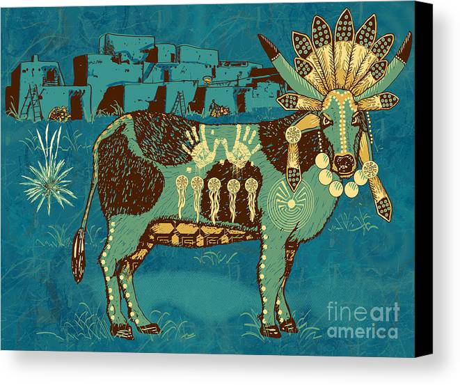 Native Canvas Print featuring the digital art Cowchina by Laura Brightwood