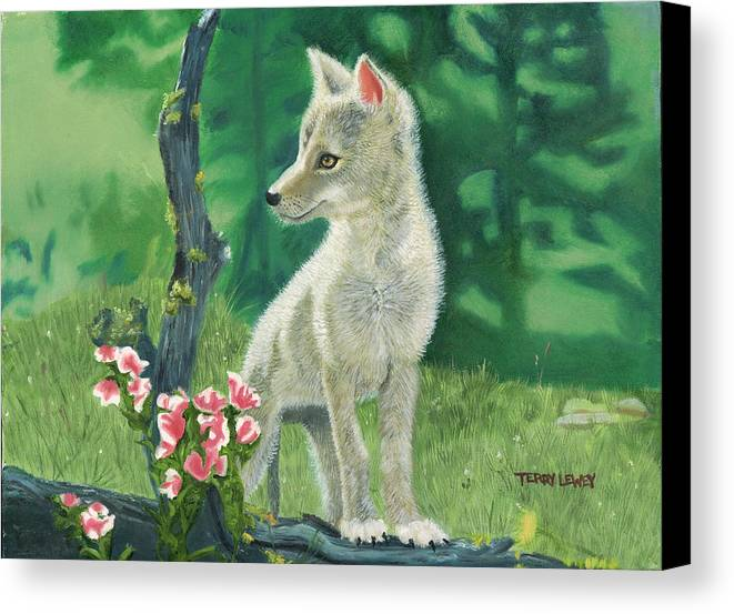 Dog Canvas Print featuring the painting Coyote Pup by Terry Lewey
