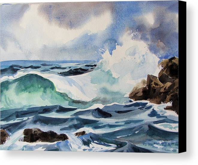 Ocean Canvas Print featuring the painting Crashing Wave by Dianna Willman