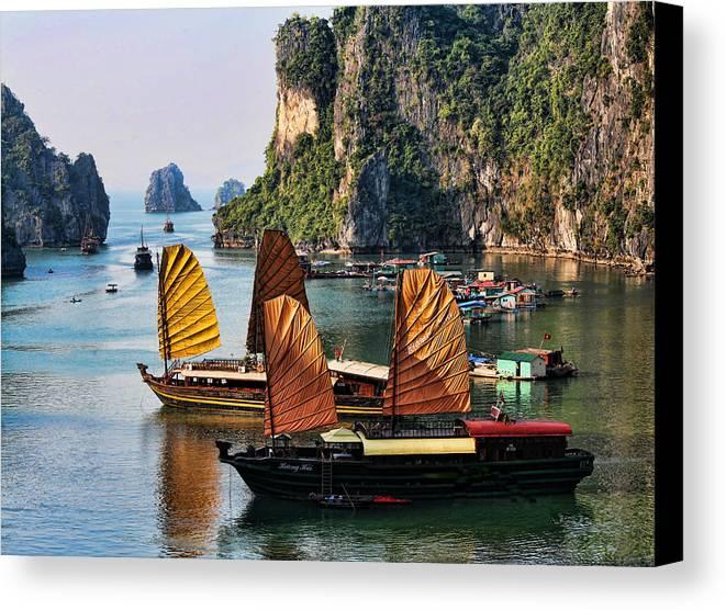 Vietnam Canvas Print featuring the photograph Cruising Ha Long Bay Vietnam by Chuck Kuhn