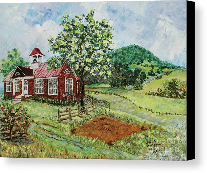 Landscape Canvas Print featuring the painting Dale Enterprise School by Judith Espinoza