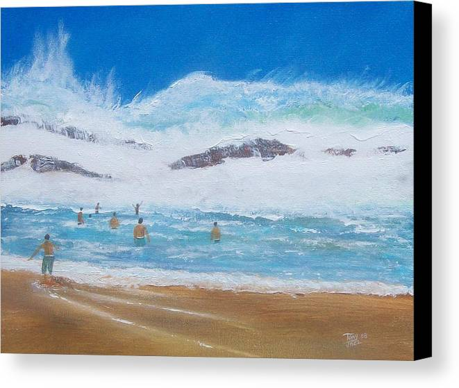 Seascape Canvas Print featuring the painting Danger No Swimming by Tony Rodriguez