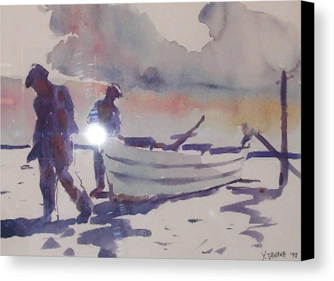 Fishermen Canvas Print featuring the painting Daybreak by Yael Eylat-Tanaka