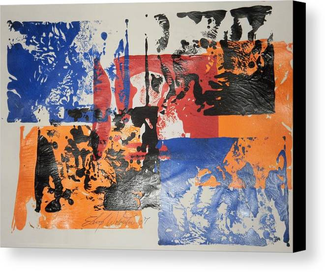 Abstract Canvas Print featuring the painting Days At The Office by Edward Wolverton