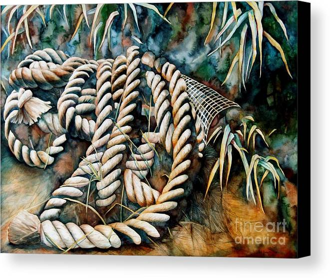 Rope Canvas Print featuring the painting Delta Days by Gail Zavala