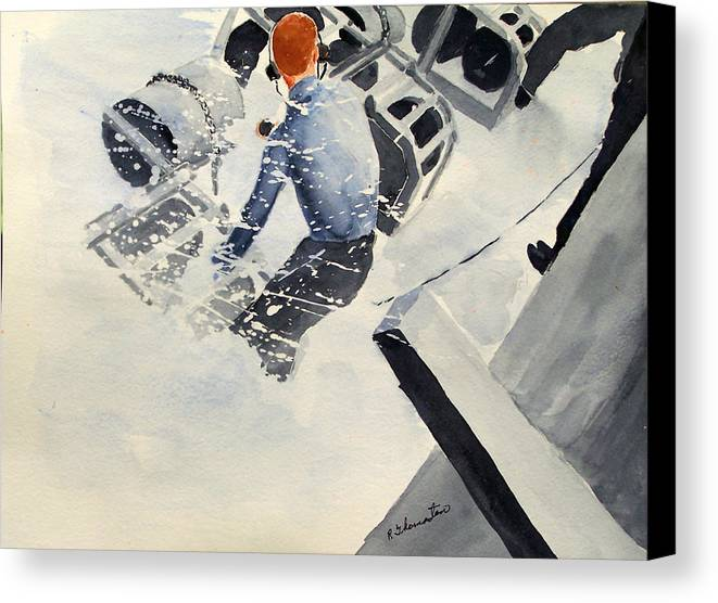 Navy Canvas Print featuring the painting Depth Charge by Robert Thomaston