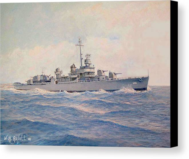 Ships Canvas Print featuring the painting Destroyer Halsey Powell by William H RaVell III