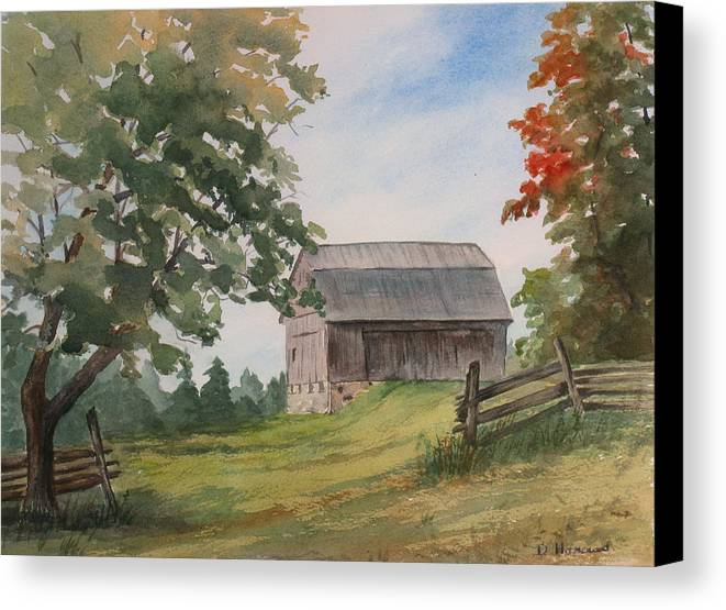 Barn Canvas Print featuring the painting Disappearing Heritage by Debbie Homewood