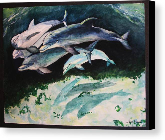 Dolphins Canvas Print featuring the painting Dolphins by Laura Rispoli