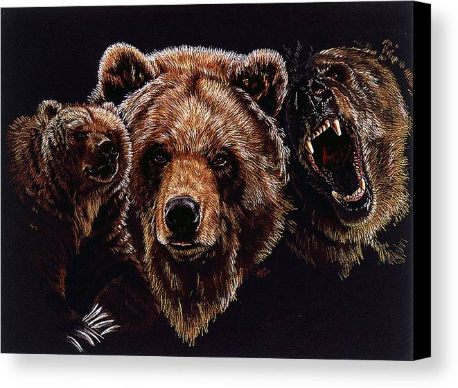 Bears Canvas Print featuring the drawing Dominion by Barbara Keith