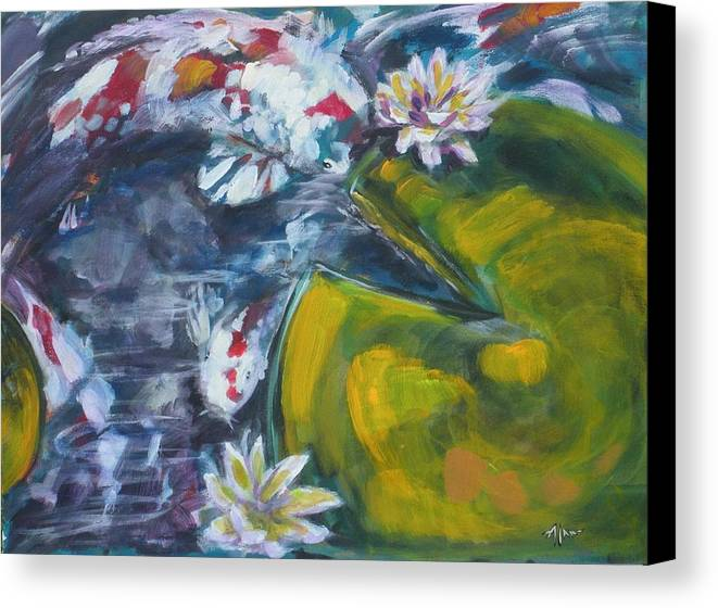 Koi Lily Pad Fish Water Waterscape Green Blue Red Acrylic Canvas Canvas Print featuring the painting Don't Be Koi by Alan Scott Craig
