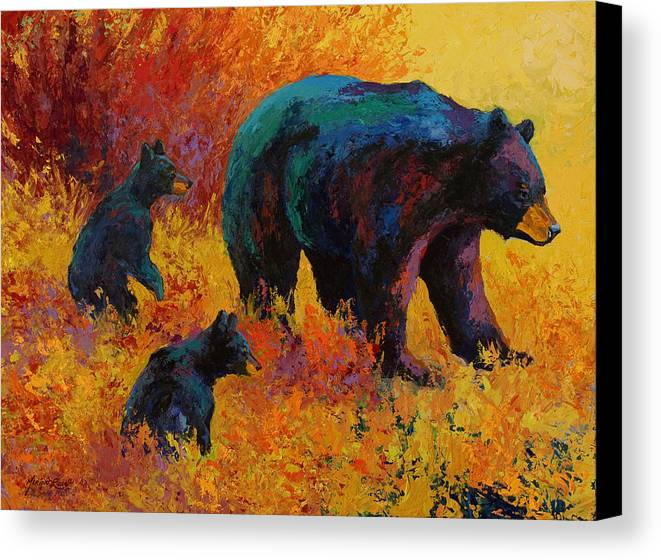 Double Trouble Black Bear Family Canvas Print Canvas