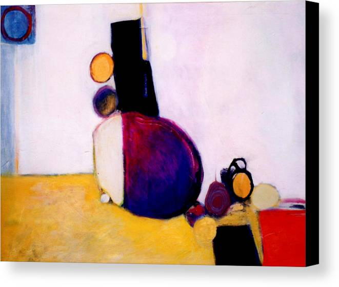 Abstract Canvas Print featuring the painting Early Blob Having A Ball by Marlene Burns