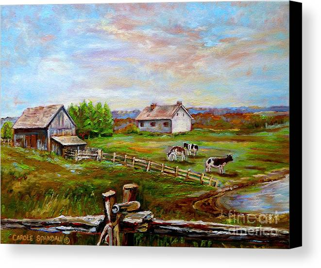 Ile D'orleans Canvas Print featuring the painting Eastern Townships Quebec Country Scene by Carole Spandau