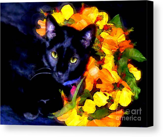Black Cat Canvas Print featuring the painting Einstein The Cat by Elinor Mavor