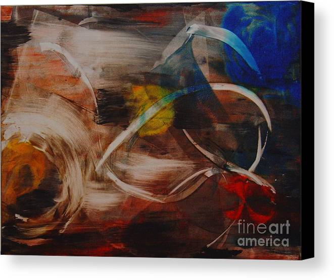 Space Abstract Original Monoprint Leilaatkinson Beginning Canvas Print featuring the painting Enigma by Leila Atkinson