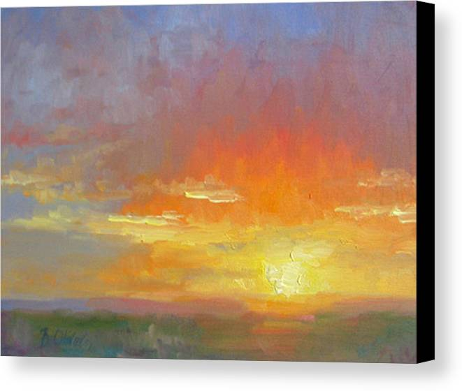 Sunset Canvas Print featuring the painting Evening Drama by Bunny Oliver