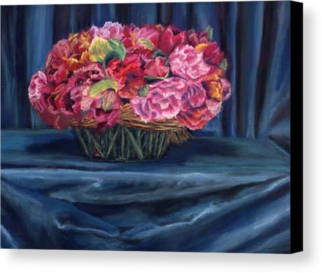 Flowers Canvas Print featuring the painting Fabric And Flowers by Sharon E Allen