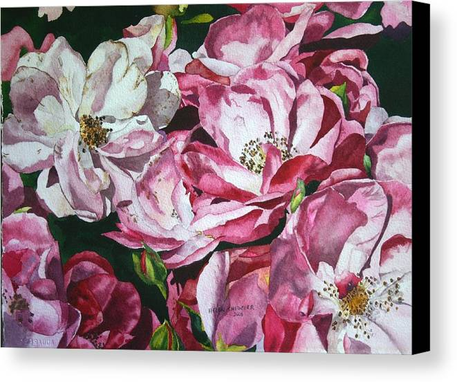 Floral Canvas Print featuring the painting Fading Blooms by Helen Shideler