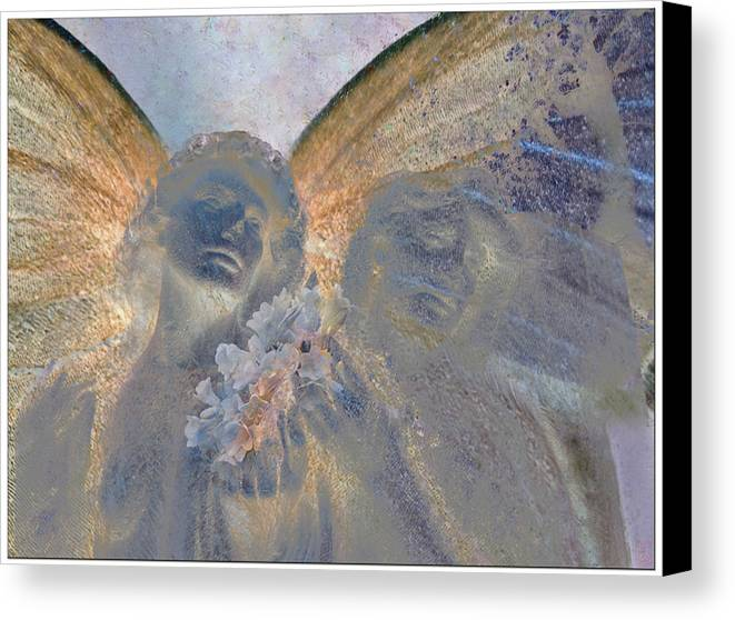 Decorative Canvas Print featuring the digital art Fairies With White Flowers by Heike Schenk-Arena