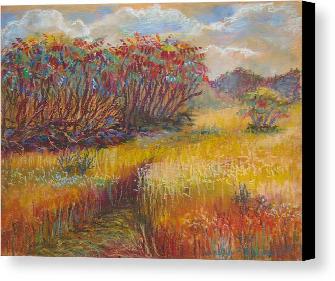 Fall Canvas Print featuring the painting Fall Sumac Fields by Art Nomad Sandra Hansen