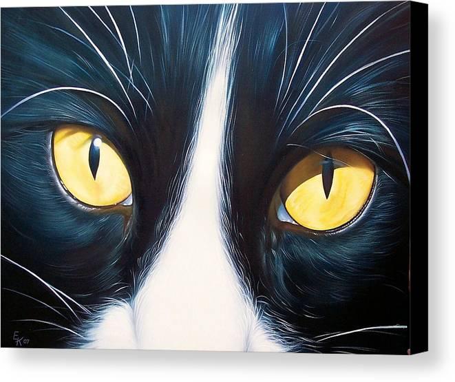 Cat Canvas Print featuring the painting Feline Face 2 by Elena Kolotusha