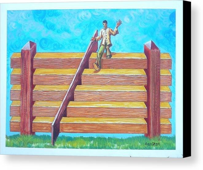 Santana Canvas Print featuring the painting Fenstairs by Joe Santana
