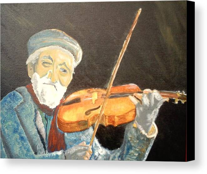 Hungry He Plays For His Supper Canvas Print featuring the painting Fiddler Blue by J Bauer