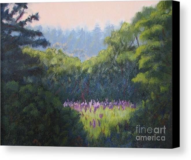 Landscape Canvas Print featuring the painting Field Of Lupines Deer Island by Laura Roberts