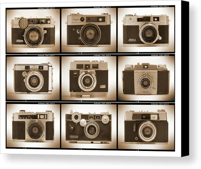 Vintage Cameras Canvas Print featuring the photograph Film Camera Proofs 2 by Mike McGlothlen