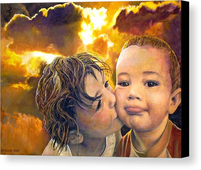 Children Canvas Print featuring the painting First Kiss by Michael Durst