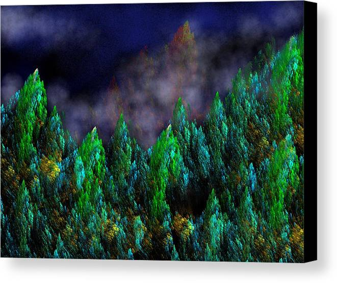 Abstract Digital Painting Canvas Print featuring the digital art Forest Primeval by David Lane