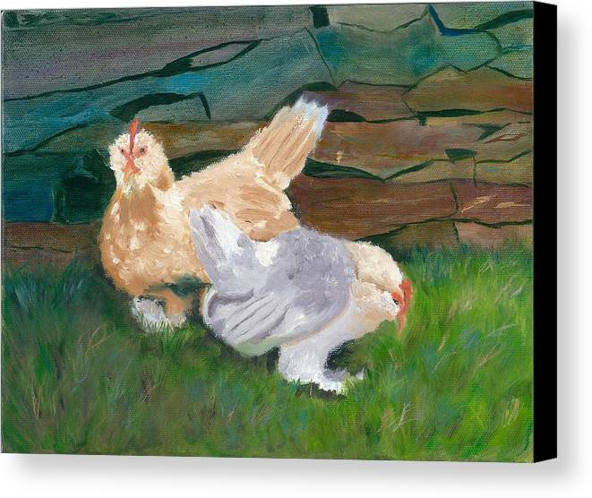 Chickens Bantams Countryside Stonewall Farm Canvas Print featuring the painting Fowl Play by Paula Emery