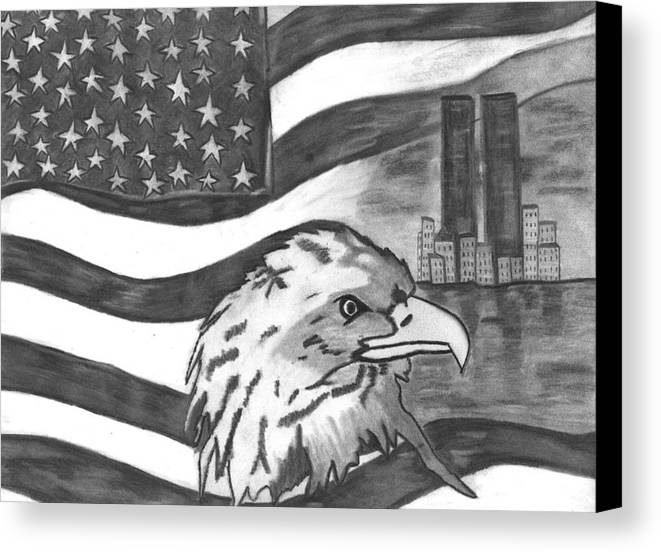 Eagle Canvas Print featuring the drawing Freedom by Katina Cote