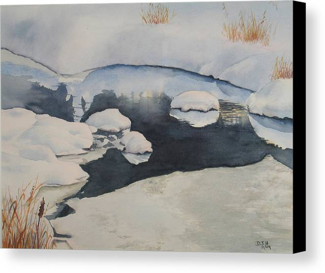 Winter Canvas Print featuring the painting Freeze Up by Debbie Homewood