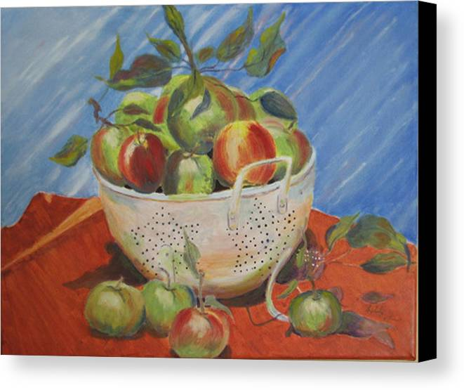 Apples Canvas Print featuring the painting Future Pie by Libby Cagle